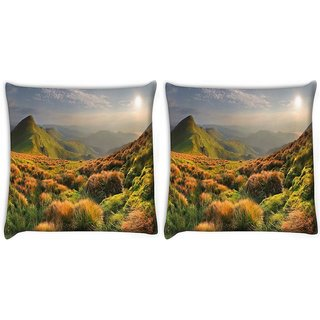 Snoogg Pack Of 2 Colorful Grass Digitally Printed Cushion Cover Pillow 10 x 10 Inch
