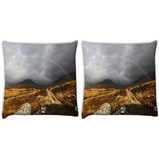 Snoogg Pack Of 2 Rainbow Digitally Printed Cushion Cover Pillow 10 x 10 Inch