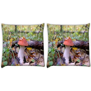 Snoogg Pack Of 2 Red Mushroom Digitally Printed Cushion Cover Pillow 10 x 10 Inch