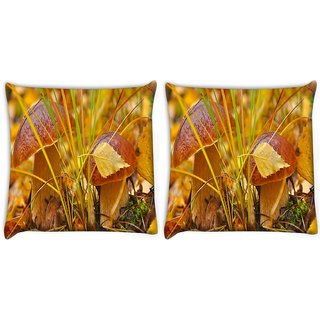 Snoogg Pack Of 2 Orange Mushroom Digitally Printed Cushion Cover Pillow 10 x 10 Inch