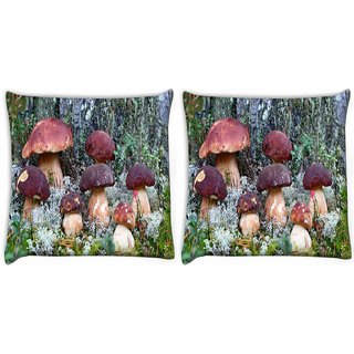 Snoogg Pack Of 2 Dark Red Mushroom Digitally Printed Cushion Cover Pillow 10 x 10 Inch