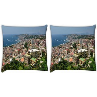 Snoogg Pack Of 2 City From The Top Digitally Printed Cushion Cover Pillow 10 x 10 Inch