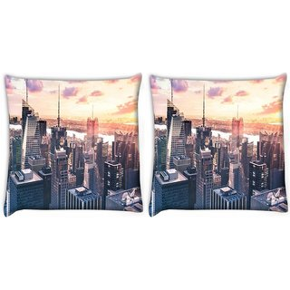 Snoogg Pack Of 2 Abstract Buildings Digitally Printed Cushion Cover Pillow 10 x 10 Inch