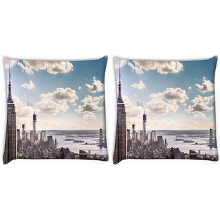 Snoogg Pack Of 2 Building And Cloud Digitally Printed Cushion Cover Pillow 10 x 10 Inch