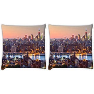 Snoogg Pack Of 2 Colorful Shades Of City Digitally Printed Cushion Cover Pillow 10 x 10 Inch