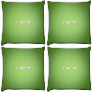 Snoogg Pack Of 4 Love Your Desktop Green Digitally Printed Cushion Cover Pillow 10 x 10 Inch