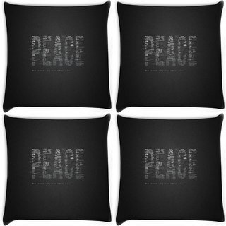 Snoogg Pack Of 4 Peace Digitally Printed Cushion Cover Pillow 10 x 10 Inch