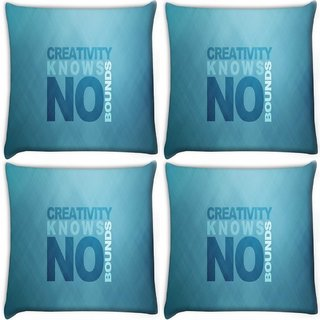 Snoogg Pack Of 4 Creativity Knows Bound Digitally Printed Cushion Cover Pillow 10 x 10 Inch
