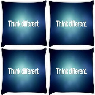 Snoogg Pack Of 4 Think Different Digitally Printed Cushion Cover Pillow 10 x 10 Inch