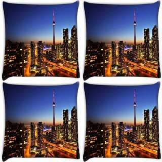 Snoogg Pack Of 4 Building Top Digitally Printed Cushion Cover Pillow 10 x 10 Inch