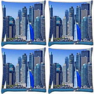 Snoogg Pack Of 4 White And Blue Boat Digitally Printed Cushion Cover Pillow 10 x 10 Inch