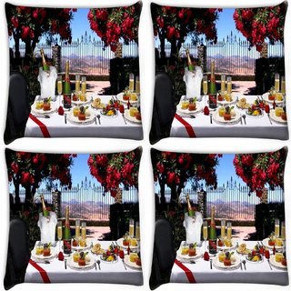 Snoogg Pack Of 4 Dinning Table Set Digitally Printed Cushion Cover Pillow 10 x 10 Inch