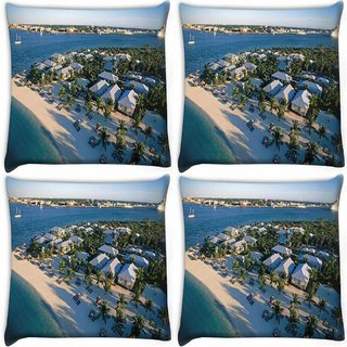 Snoogg Pack Of 4 White Beach Houses Digitally Printed Cushion Cover Pillow 10 x 10 Inch