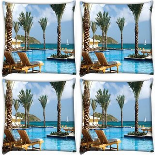 Snoogg Pack Of 4 Tree In The Pool Digitally Printed Cushion Cover Pillow 10 x 10 Inch
