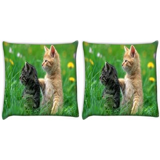Snoogg Pack Of 2 Pair Of Cats Digitally Printed Cushion Cover Pillow 10 x 10 Inch