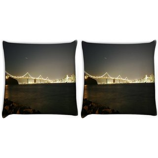 Snoogg Pack Of 2 Colrful Lights At Sealings Digitally Printed Cushion Cover Pillow 10 x 10 Inch