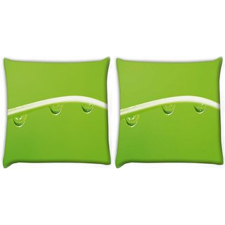 Snoogg Pack Of 2 Dew Drops Digitally Printed Cushion Cover Pillow 10 x 10 Inch