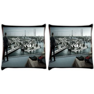 Snoogg Pack Of 2 Australia Digitally Printed Cushion Cover Pillow 10 x 10 Inch