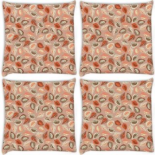 Snoogg Pack Of 4 Abstract Leaves In Cream Digitally Printed Cushion Cover Pillow 10 x 10 Inch