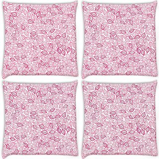 Snoogg Pack Of 4 Pink Leaves White Pattern Digitally Printed Cushion Cover Pillow 10 x 10 Inch