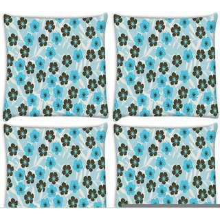Snoogg Pack Of 4 Floral Blue Pattern Digitally Printed Cushion Cover Pillow 10 x 10 Inch