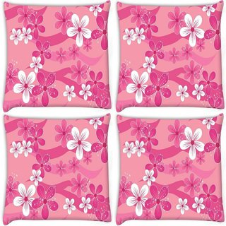 Snoogg Pack Of 4 Floral Pink Pattern Digitally Printed Cushion Cover Pillow 10 x 10 Inch