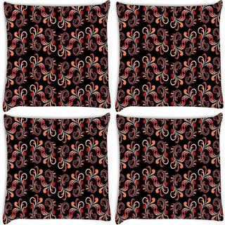 Snoogg Pack Of 4 Red Abstract Black Pattern Digitally Printed Cushion Cover Pillow 10 x 10 Inch