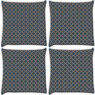 Snoogg Pack Of 4 Abstract Orange Pattern Digitally Printed Cushion Cover Pillow 10 x 10 Inch