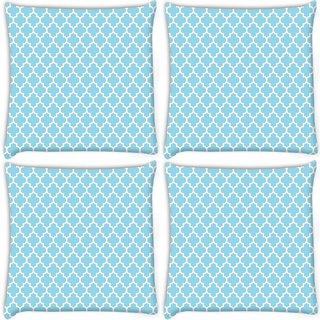 Snoogg Pack Of 4 Abstract White Pattern Digitally Printed Cushion Cover Pillow 10 x 10 Inch