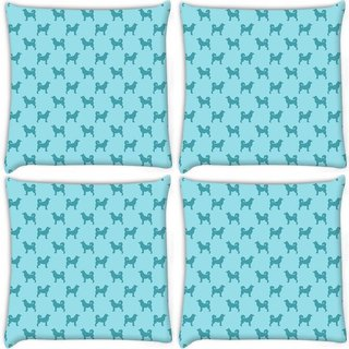 Snoogg Pack Of 4 Abstract Dog Pattern Digitally Printed Cushion Cover Pillow 10 x 10 Inch