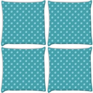 Snoogg Pack Of 4 Abstract Dog Footprint Digitally Printed Cushion Cover Pillow 10 x 10 Inch