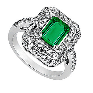 14K White Gold Emerald Cut Simulated Green Emerald & Cubic Zirconia Ring