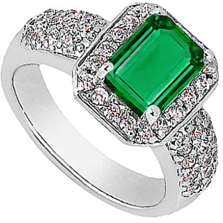 Emerald Cut Simulated Emerald & CZ Ring In White Gold 14K Of 2.75 Carat