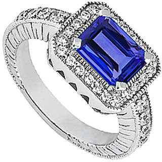 Sapphire Emerald Cut Ring With Cubic Zirconia In 14K White Gold 1.60 Carat TGW