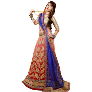 Surat Tex Red Color Party Wear Semi-Stitched Embroidered Net Lehenga Choli With Heavy Designer Havy Broket Top-J195LA120