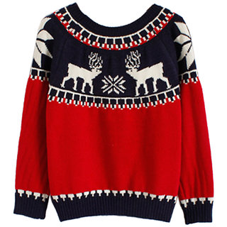 Women Fashion  Red Color printed Sweater