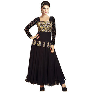 Surat Tex Black Colored Georgette Embroidered Party Wear Semi-Stitched Anarkali Suit-K27DL35