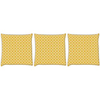 Snoogg Pack Of 3 Abstract White Yellow Pattern Digitally Printed Cushion Cover Pillow 12 x 12 Inch