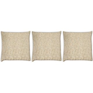 Snoogg Pack Of 3 Abstract Golden Feathers Digitally Printed Cushion Cover Pillow 12 x 12 Inch