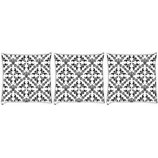 Snoogg Pack Of 3 Grey Pattern Design Digitally Printed Cushion Cover Pillow 12 x 12 Inch