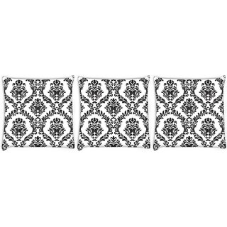 Snoogg Pack Of 3 Grey Spaced Pattern Digitally Printed Cushion Cover Pillow 12 x 12 Inch