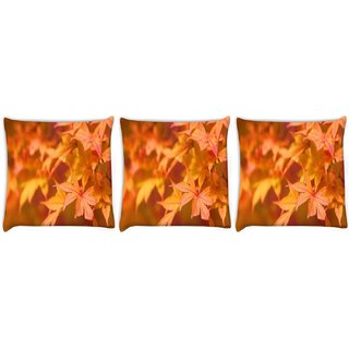 Snoogg Pack Of 3 Orange Leaves Digitally Printed Cushion Cover Pillow 12 x 12 Inch