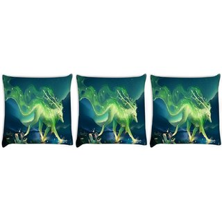 Snoogg Pack Of 3 Green Mysterious Design Digitally Printed Cushion Cover Pillow 12 x 12 Inch