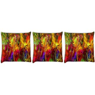 Snoogg Pack Of 3 Cool Abstract Wallpaper Digitally Printed Cushion Cover Pillow 12 x 12 Inch