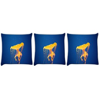 Snoogg Pack Of 3 Jellyfish In Sea Digitally Printed Cushion Cover Pillow 12 x 12 Inch