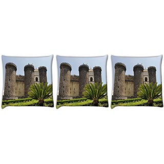Snoogg Pack Of 3 Tower Palace Digitally Printed Cushion Cover Pillow 12 x 12 Inch