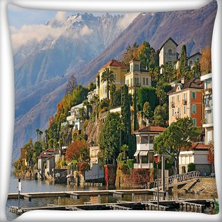 Snoogg Yellow Building Digitally Printed Cushion Cover Pillow 10 x 10 Inch