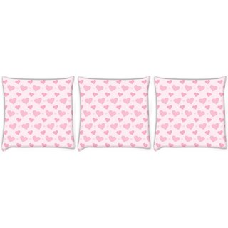 Snoogg Pack Of 3 Lite Pink Heart Pattern Digitally Printed Cushion Cover Pillow 12 x 12 Inch