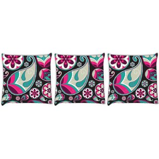 Snoogg Pack Of 3 Grey Pattern Red Digitally Printed Cushion Cover Pillow 12 x 12 Inch