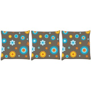 Snoogg Pack Of 3 Cream Pattern Floral Digitally Printed Cushion Cover Pillow 12 x 12 Inch